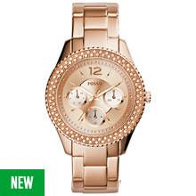 Fossil Ladies Stella ES3590 Rose Gold Tone Chronograph Watch Best Price, Cheapest Prices