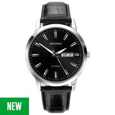 Sekonda Men's Black Leather Strap Watch Best Price, Cheapest Prices