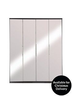 Prague 4-door Wardrobe with Mirrored Doors and Internal Chest of 3 Drawers  Best Price, Cheapest Prices