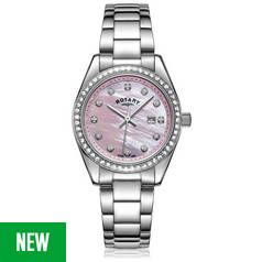 Rotary Mother of Pearl Dial Ladies Stainless Steel Watch Best Price, Cheapest Prices