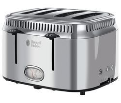 RUSSELL HOBBS Retro 21695 4-Slice Toaster - Silver Best Price, Cheapest Prices
