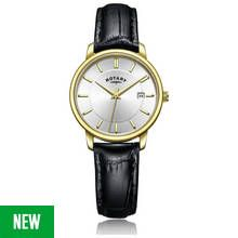 Rotary Ladies' Gold Plated Black Leather Strap Watch Best Price, Cheapest Prices