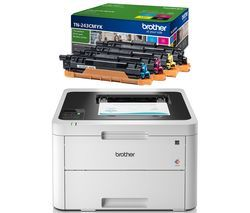 BROTHER HLL3230CDW Wireless Laser Printer & TN243CMYK Toner Cartridges Bundle Best Price, Cheapest Prices