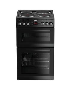 Beko KDV555AK 50cm Double Oven Electric Cooker with Connection - Black Best Price, Cheapest Prices