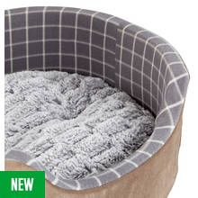 Petface Grey Window Check Foam Oval Pet Bed - Large Best Price, Cheapest Prices