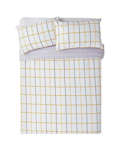 Argos Home Mustard & Grey Checked Bedding Set - Superking Best Price, Cheapest Prices