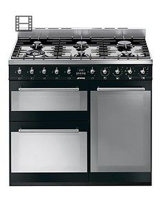 Smeg SY93BL 90cm Dual Fuel 3 Cavity Range Cooker with Gas Hob - Black Best Price, Cheapest Prices