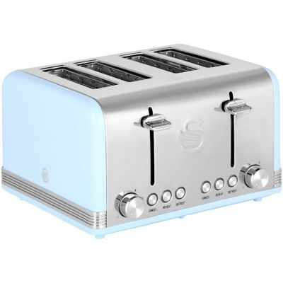 Swan Retro ST19020BLN 4 Slice Toaster - Blue Best Price, Cheapest Prices