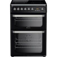HOTPOINT HUE61KS 60cm Double Oven Electric Cooker With Ceramic Hob - Black Best Price, Cheapest Prices