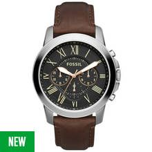 Fossil Grant Men's Brown Leather Strap Chronograph Watch Best Price, Cheapest Prices