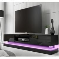 Evoque Large Black High Gloss TV Unit with Lower LED Lighting Best Price, Cheapest Prices