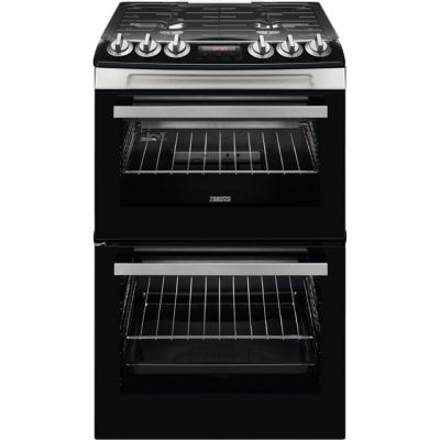 Zanussi ZCG43250XA 55cm Gas Cooker with Full Width Electric Grill - Stainless Steel - A/A Rated Best Price, Cheapest Prices