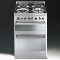 Smeg SY62MX8 Symphony 60cm Double Oven Dual Fuel Cooker Stainless Steel Best Price, Cheapest Prices