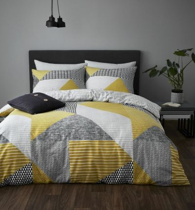 Catherine Lansfield Ochre Larsson Geo Bedding Set - Single Best Price, Cheapest Prices