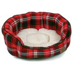 Petface Small Oval Dog Bed - Red Tartan Best Price, Cheapest Prices