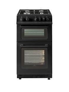 New World 50GTC 50cm Wide Twin Cavity Gas Cooker- Black Best Price, Cheapest Prices