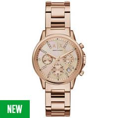 Armani Exchange Rose Gold Coloured Dial Ladies Watch Best Price, Cheapest Prices