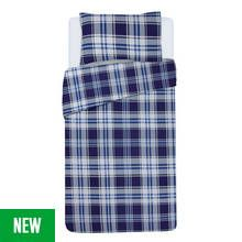 Argos Home Blue Check Bedding Set - Single Best Price, Cheapest Prices