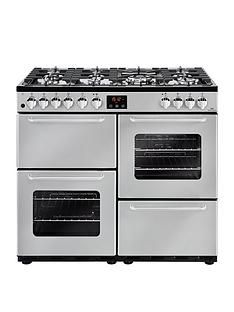New World NW 100DFT 100cm Dual Fuel Range Cooker with Connection - Silver Best Price, Cheapest Prices