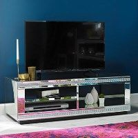 LPD Biarritz Mirrored TV Stand with Diamante Trim - Small Best Price, Cheapest Prices