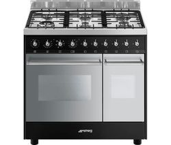 SMEG C92DBL9 90 cm Dual Fuel Range Cooker - Black & Stainless Steel Best Price, Cheapest Prices