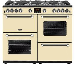 BELLING Kensington 100G 100 cm Gas Range Cooker - Cream & Chrome Best Price, Cheapest Prices