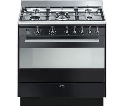 SMEG Concert 90 cm Dual Fuel Range Cooker - Black Best Price, Cheapest Prices