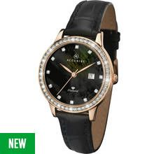 Accurist Ladies' Diamond Set Dial Black Leather Strap Watch Best Price, Cheapest Prices