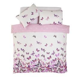 Argos Home Pink Trailing Butterflies Bedding Set - Double Best Price, Cheapest Prices