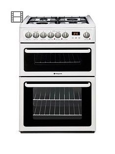 Hotpoint Newstyle HAG60P 60cm Double Oven Gas Cooker with FSD- White Best Price, Cheapest Prices