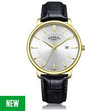 Rotary Men's Classic Black Leather Strap Analogue Watch Best Price, Cheapest Prices