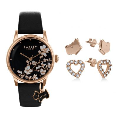 Radley Ladies Black Leather Strap Watch Gift Set Best Price, Cheapest Prices