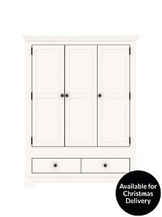 Ideal Home Normandy 3 Door 2 Drawer Wardrobe Best Price, Cheapest Prices