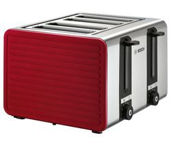 BOSCH TAT7S44GB 4-Slice Toaster - Red & Silver Best Price, Cheapest Prices