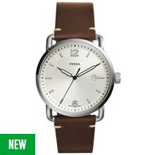 Fossil Commuter Men's Brown Leather Strap Watch Best Price, Cheapest Prices
