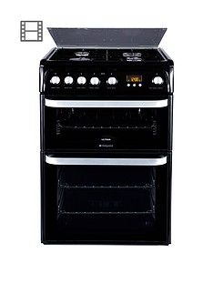 Hotpoint Ultima HUG61K 60cm Double Oven Gas Cooker with FSD - Black Best Price, Cheapest Prices
