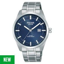 Pulsar Men's Silver Stainless Steel Bracelet Solar Watch Best Price, Cheapest Prices