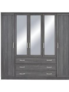 Camberley 5 Door 3 Drawer Mirrored Wardrobe Best Price, Cheapest Prices