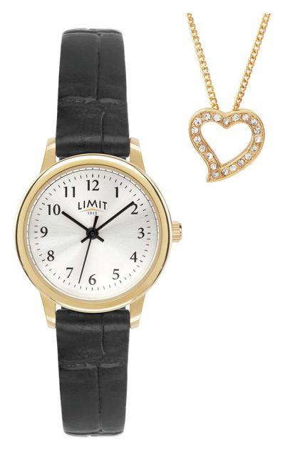 Limit Black Faux Leather Strap Watch and Gold Pendant Best Price, Cheapest Prices