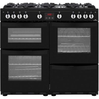 Newworld Vision 100G 100cm Gas Range Cooker - Black - A/A Rated Best Price, Cheapest Prices