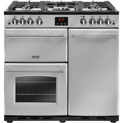 Belling Farmhouse90G 90cm Gas Range Cooker with Electric Fan Oven - Silver - B/A Rated Best Price, Cheapest Prices