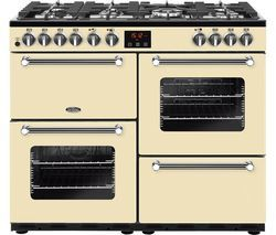 BELLING Kensington 100DFT Dual Fuel Range Cooker - Cream & Chrome Best Price, Cheapest Prices