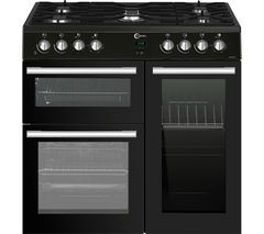 FLAVEL MLN9FRK 90 cm Dual Fuel Range Cooker - Black Best Price, Cheapest Prices
