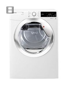 Hoover Dynamic Next DXC10TCE 10kgAquavision Condenser Tumble Dryer with One Touch - White/Chrome Best Price, Cheapest Prices