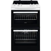 Zanussi ZCV46050WA 55cm Double Oven Electric Cooker With Ceramic Hob - White Best Price, Cheapest Prices