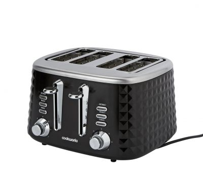 Cookworks Textured 4 Slice Toaster - Black Best Price, Cheapest Prices