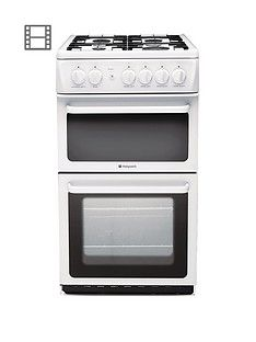 Hotpoint Newstyle HAG51P 50cm Twin Cavity Gas Cooker with FSD - White Best Price, Cheapest Prices
