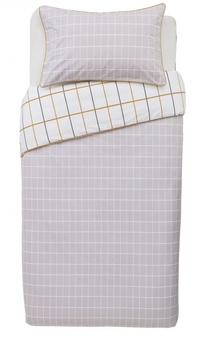 Argos Home Mustard & Grey Checked Bedding Set - Single Best Price, Cheapest Prices