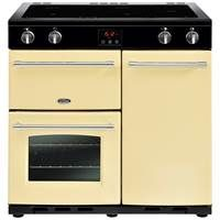 Belling Farmhouse 90Ei 90cm Electric Induction Range Cooker in Cream 444444132 Best Price, Cheapest Prices