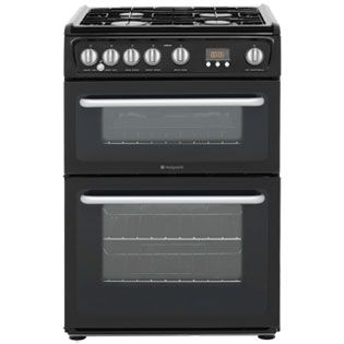 Hotpoint Newstyle HARG60K 60cm Gas Cooker with Variable Gas Grill - Black - A+/A Rated Best Price, Cheapest Prices